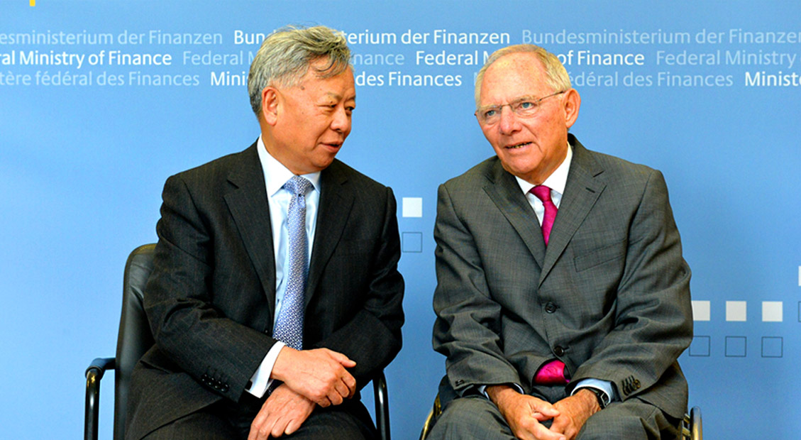 President-designate Jin meets with German Finance Minister Schäuble in Berlin, 30 September 2015